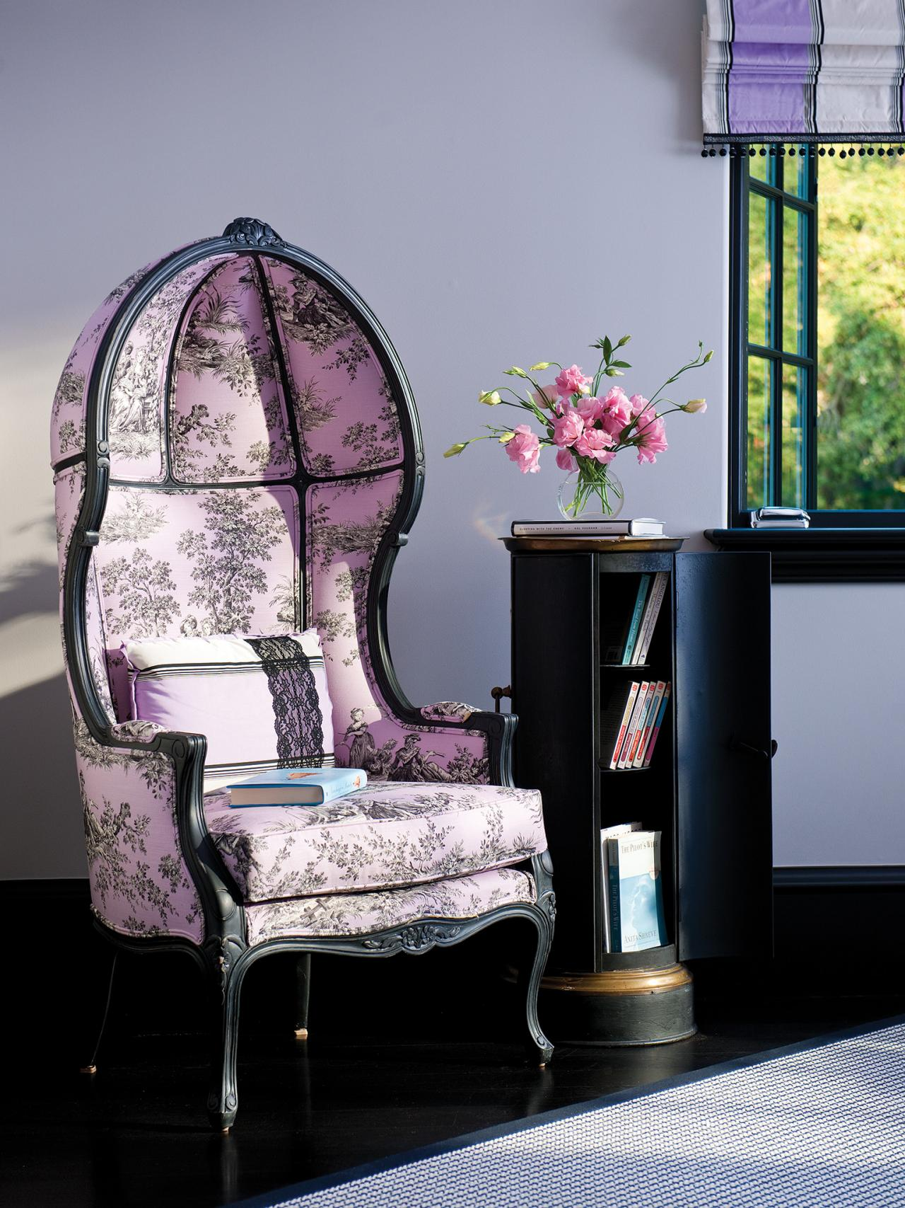 Purple shabby chic bedroom with decorative reading chair for Bedroom reading chair